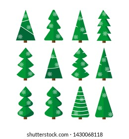 Christmas trees set. Modern flat design collection of simple fir-tree with snowflakes. Vector illustration. Can be used for greeting card, invitation, banner, web