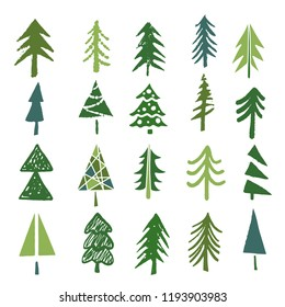 Christmas trees set. Sketch hand drawn icons. Isolated on white background