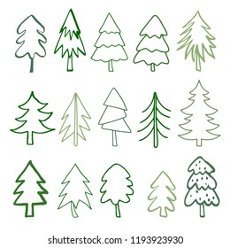 Christmas trees set. Sketch hand drawn icons. line art. Isolated on white background