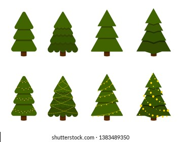 Christmas trees set. Vector illustration