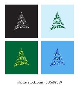 Christmas trees set. Vector illustration