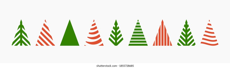 Christmas trees shapes icons set. Vector illustration.