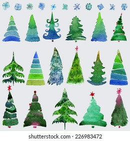 christmas trees and snowflake set of holidays hand drawn paint winter season vector set design - Holiday Christmas Cards
