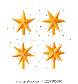 Christmas treetops in shape of stars. Vector holiday ornaments in flat style