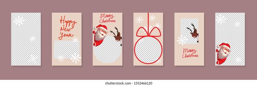 Christmas Trendy editable Stories template. Design for social media. Vector. Santa Claus and reindeer