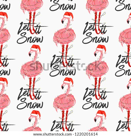ba64c5324027 Christmas tropical pattern with Xmas flamingo with Santa hat and let it  snow text. Vector
