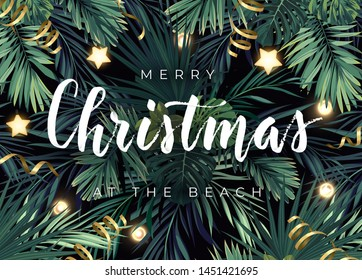 Christmas tropical vector design for banner or flyer with dark green palm leaves, gold glowing stars, light bulbs and white lettering.