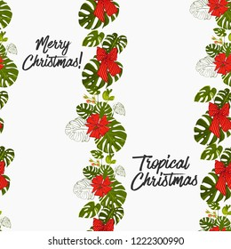 Christmas in the tropics vertical border frame. Seamless pattern with green monstera and red Xmas bows. Digital watercolor seamless background. Decoration on white backdrop