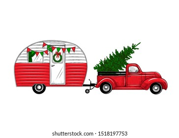 Christmas truck with a camper.Vintage vector illustration.    Engraved design elements on a white background.  Christmas style. Hand drawn retro card. Color drawing.