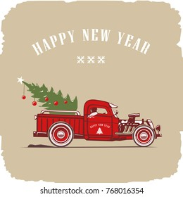 Christmas truck, side view in color, vector image, old card style