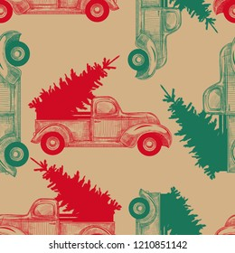 Christmas truck with Christmas tree on craft paper.Vintage seamless pattern.Hand drawn vector illustration in sketch style. New Year's template.