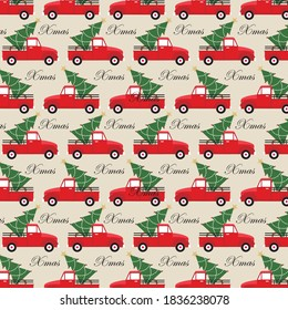 Christmas truck and tree pattern for gift wrap