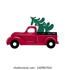Christmas truck.  Vector illustration Christmas red truck with a Christmas tree on a white background. Retro card.