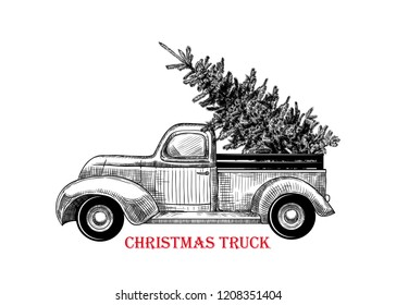 Christmas truck. Vector vintage illustration of Christmas truck with Christmas tree on white background. Retro card. Sketch.