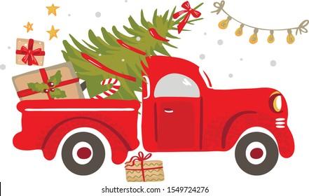 Christmas truck. Vintage vector illustration Christmas red truck with a Christmas tree on a white background. Retro card