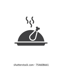 Christmas turkey food icon vector, filled flat sign, solid pictogram isolated on white. Roast chicken on tray symbol, logo illustration.