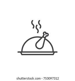Christmas turkey food line icon, outline vector sign, linear style pictogram isolated on white. Roast chicken on tray symbol, logo illustration. Editable stroke