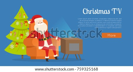 christmas tv calm rest concept vector illustration sitting santa claus in orange big armchair near - Christmas Tv