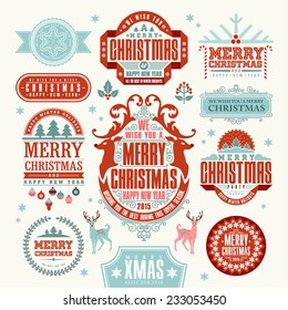 Christmas Typographic and Calligraphic elements, vintage labels, frames with Merry Christmas and Happy Holidays wishes.
