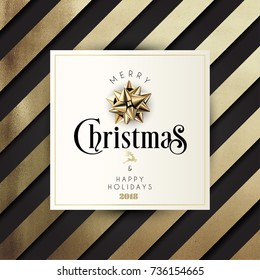 Christmas Typographical Golden Pattern Background