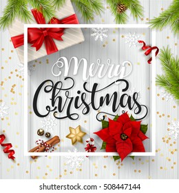 Christmas typographical white wooden background with fir branches and elements. Vector illustration.