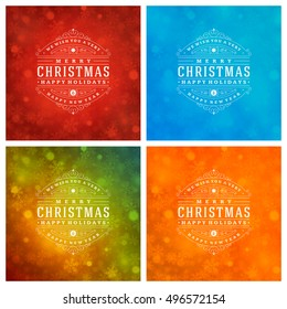 Christmas Typography Greeting Cards Design Set. Christmas lights and Snowflakes Backgrounds. Vector illustration EPS 10.