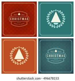 Christmas Typography Greeting Cards Design Set. Holidays wishes retro style vintage ornament decoration. Vector illustration EPS 10.