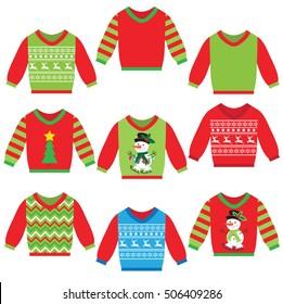 Christmas ugly sweater cartoon vector illustration