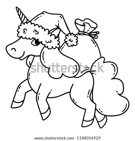 Christmas Unicorn Santa Hat Bag Gifts Stock Vector ...