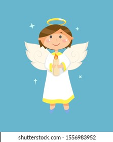 Christmas and Valentines Day character, angel with halo and wings holding candle vector. Heaven creature, boy or child in white robe, holy spirit