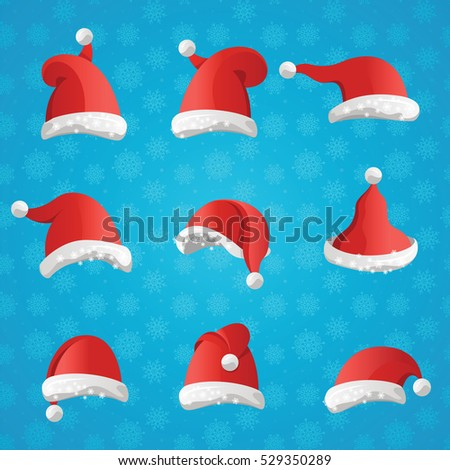84edfeed52d Christmas various hats set in cartoon style on blue background. Collection  of Santa Claus headwears