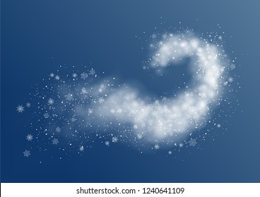Christmas vector background. Abstract snow blizzard. White particles liquid dynamic flow