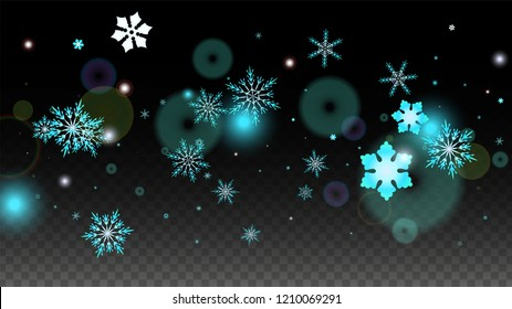 Christmas  Vector Background with Blue Falling Snowflakes Isolated on Transparent Background. Luxury Snow Sparkle Pattern. Snowfall Overlay Print. Winter Sky. Design for  Party Invitation.