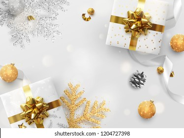 Christmas vector background. Creative design greeting card, banner, poster. Top view gift box, xmas decoration balls and snowflakes.
