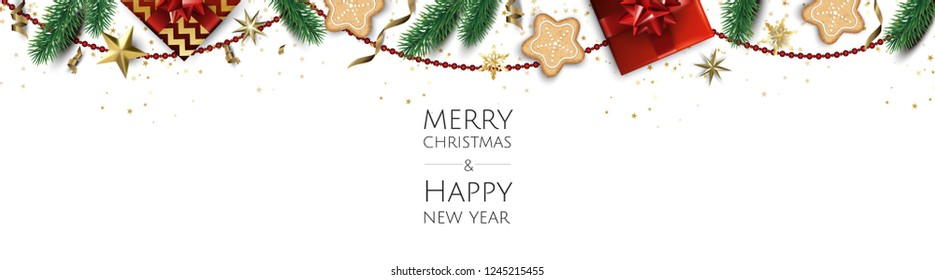 Christmas vector background. Creative design greeting card, banner, poster. Top view gift box, xmas balls, stars and snowflakes.