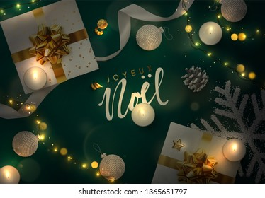 Christmas vector background. Creative design greeting card, banner, web poster. Top view of gift box, xmas decoration string lights garlands, balls and snowflakes.  French text Joyeux Noel