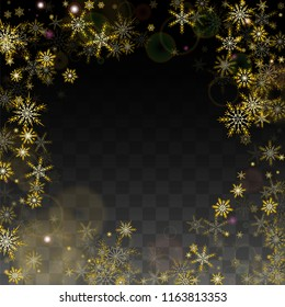 Christmas  Vector Background with Gold Falling Snowflakes Isolated on Transparent Background. Magic Snow Sparkle Pattern. Snowfall Overlay Print. Winter Sky. Design for  Poster.