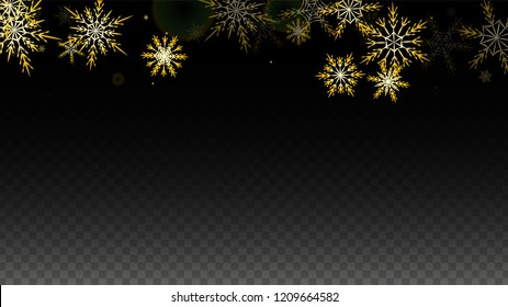 Christmas  Vector Background with Gold Falling Snowflakes Isolated on Transparent Background. Elegance Snow Sparkle Pattern. Snowfall Overlay Print. Winter Sky. Design for  Christmas Sale.