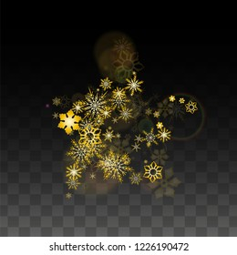 Christmas  Vector Background with Gold Falling Snowflakes Isolated on Transparent Background. Fantasy Snow Sparkle Pattern. Snowfall Overlay Print. Winter Sky. Design for  Christmas Sale.