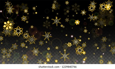 Christmas  Vector Background with Gold Falling Snowflakes Isolated on Transparent Background. Elegance Snow Sparkle Pattern. Snowfall Overlay Print. Winter Sky. Design for  Party Invitation.