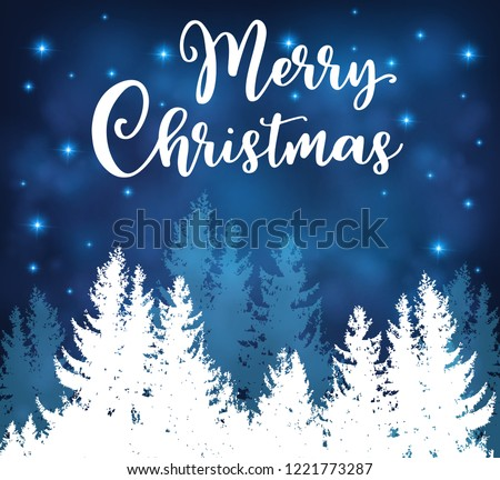 Christmas Vector Background Night Winter Snowy Stock Image