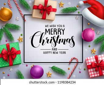 Christmas vector background template with merry christmas greeting in white space and colorful elements and decorations in a frame. Vector illustration.