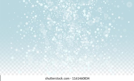 Christmas  Vector Background with White Falling Snowflakes Isolated on Transparent Background. Fantasy Snow Sparkle Pattern. Snowfall Overlay Print. Winter Sky. Design for  Poster.