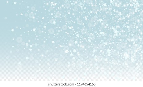 Christmas  Vector Background with White Falling Snowflakes Isolated on Transparent Background. Luxury Snow Sparkle Pattern. Snowfall Overlay Print. Winter Sky. Design for  Christmas Sale.