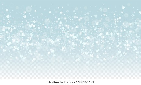Christmas  Vector Background with White Falling Snowflakes Isolated on Transparent Background. Fantasy Snow Sparkle Pattern. Snowfall Overlay Print. Winter Sky. Design for  Christmas Sale.