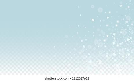 Christmas  Vector Background with White Falling Snowflakes Isolated on Transparent Background. Glitter Snow Sparkle Pattern. Snowfall Overlay Print. Winter Sky. Design for  Poster.