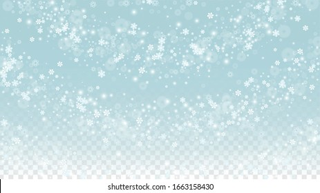Christmas  Vector Background with White Falling Snowflakes Isolated on Transparent Background. Magic Snow Sparkle Pattern. Snowfall Overlay Print. Winter Sky. Design for  Christmas Sale.