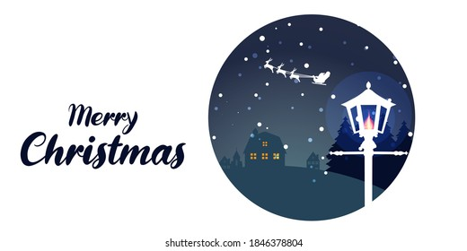 Christmas vector background. Winter is coming. Snowy night with first, coniferous forest, light garlands, falling snow, Woodland landscape for winter and new year holidays. Holiday winter landscape.