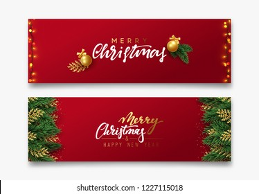 Christmas vector background. Xmas sale, holiday web banner. Design christmas decorations string lights, gold balls. Green and golden pine branches