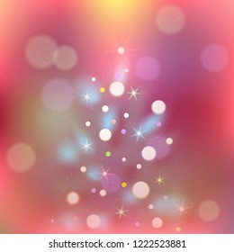 Christmas Vector Background with Xmas Tree and Lights. Fir Tree on Unfocused Background. Bright Festive Backdrop for Christmas and New Year. Vector Illustration.